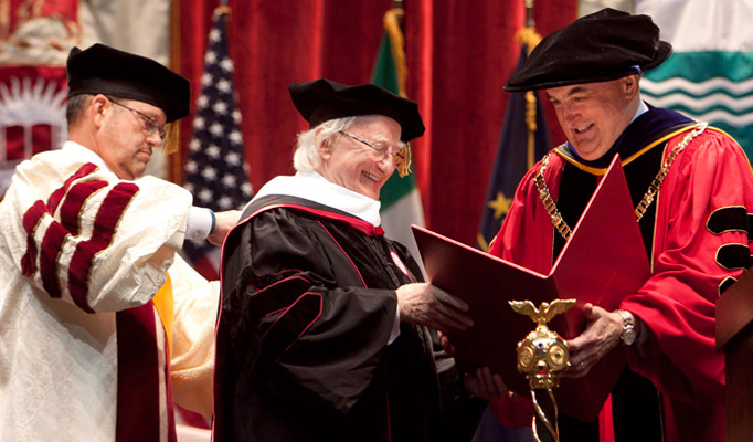 Pictured at Indiana University, Bloomington receiving an Honorary Degree is President Higgins and President of Indiana University, President McRobbie.Picture by Shane O'Neill / Copyright Fennell Photography 2014.