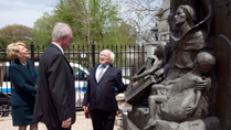 Pictured is Sabina Higgins, President Higgins and John Devitt, President of Gaelic Park at a Famine Memorial in Gaelic Park, Chicago. Picture by Shane O'Neill / Copyright Fennell Photography 2014.