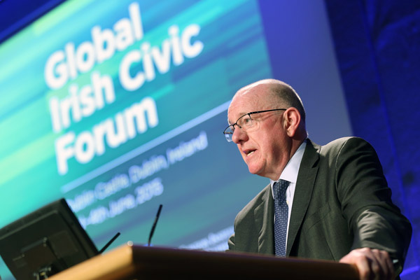Minister for Foreign Affairs and Trade, Charlie Flanagan, addresses the Global Irish Civic Forum