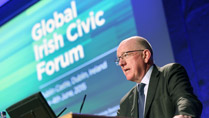 Minister for Foreign Affairs and Trade, Charlie Flanagan, addresses the Global Irish Civic Forum.