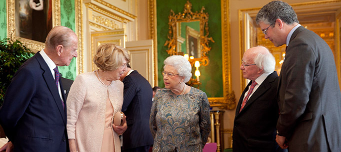 Pictured is President of Ireland Michael D Higgins and his wife Sabina with Her Majesty Queen Elizabeth II and the Duke of Edinburgh with Oliver Urquhart Irvine Royal Collection Trust librarian, viewing a display of Irish Items from the Royal Collection in the Green Drawing Room in Windsor Castle on the first official day of the Presidents 5 day State Visit to the United Kingdom.