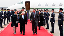 President Michael D Higgins and his Wife Sabina with Viscount Henry Hood, Lord-in-Waiting to Her Majesty Queen Elizabeth II, who greeted the President on behalf of the Queen, at London Heathrow Airport