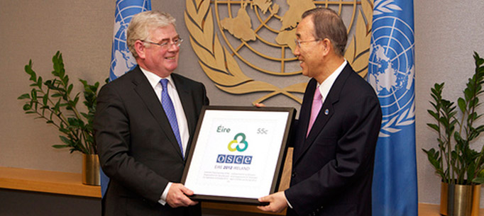 Launch of OSCE stamp by Tánaiste with UN Secretary General Ban Ki-moon