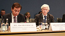 Minister Shatter with Ambassador Frank Cogan, Head of the OSCE Taskforce and Goran Svilanovic at the OSCE conference on good governance.