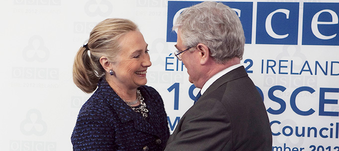 An Tanaiste Eamon Gilmore greeting US Secretary of State Hilary Clinton at the start of the 19th OSCE Ministerial Council Meeting Dublin.