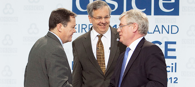 Thomas Melia, US Deputy Assistant Secretary,  Ambassador Ian Kelly, Head of the US Permanent Mission to OSCE and Tanaiste Eamon Gilmore.