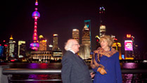 President Higgins and Sabina Higgins are pictured againist Pudong Skyline, Shanghai, China.Picture by Shane O'Neill / Fennell Photography 2014.