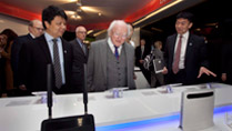 Pictured at the Huawei R&D Centre, Beijing are Mr Guo Ping, CEO, Huawei and President Higgins.Picture by Shane O'Neill / Fennell Photography 2014.