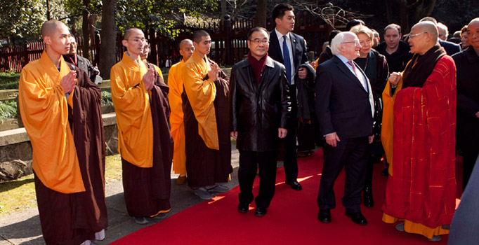 President Higgins and Sabina Higgins are pictured with Mr Guang Quan Da Heshang, Head Monk of the Lingyin Temple in Hangzhou, China.Picture by Shane O'Neill / Fennell Photography 2014.