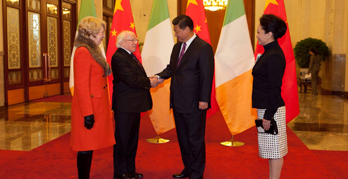 State Visit to the People's Republic of China by the President of Ireland and Sabina Higgins. President Higgins and Sabina Higgins are greeted by President Xi Jinping and Madame Peng Liyuan at the Great Hall of the People. Picture by Shane O'Neill / Fennell Photography 2014.