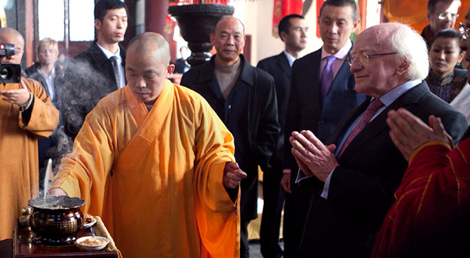 President Higgins is pictured at the Lingyin Temple in Hangzhou, China.Picture by Shane O'Neill / Fennell Photography 2014.