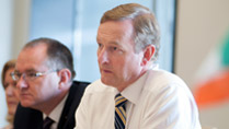 An Taoiseach Enda Kenny, Prime Minister of Ireland, speaks with John Hinshaw Executive Vice President of Technology & Operations for Hewlett Packard at the company's headquarters office in Palo Alto, California on June 05, 2014