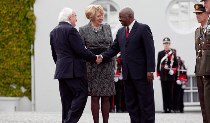 1.	President of the Republic of Mozambique Mr Armando Emilio Guebuza being welcomed by The President of Ireland, Michael D Higgins and his wife Sabina Higgins at Aras an Uachtarain during President Guebuza's 4 day state visit to Ireland from the 3rd to the 6th of June .Photo Chris Bellew / Copyright Fennell Photography 2014