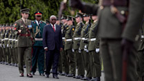2.	President of the Republic of Mozambique Mr Armando Emilio Guebuza inspecting the Guard  at Aras an Uachtarain during the Presidents 4 day state visit to Ireland from the 3rd to the 6th of June .Photo Chris Bellew / Copyright Fennell Photography 2014