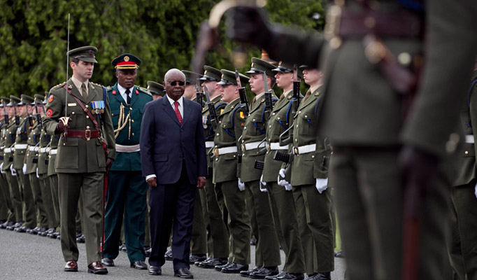 2.President of the Republic of Mozambique Mr Armando Emilio Guebuza inspecting the Guard  at Aras an Uachtarain during the Presidents 4 day state visit to Ireland from the 3rd to the 6th of June .Photo Chris Bellew / Copyright Fennell Photography 2014