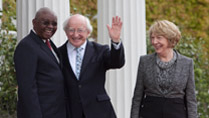 3.	Pictured is President of the Republic of Mozambique Mr. Armando Emilio Guebuza, with President Michael D. Higgins, and his wife Sabina, at Aras an Uachtarain, during the Presidents 4 day state visit to Ireland from the 3rd to the 6th of June. Picture Colm Mahady / Fennells - Copyright Fennell Photography 2014