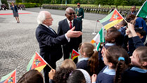 4.	President of the Republic of Mozambique Mr Armando Emilio Guebuza with The President of Ireland, Michael D Higgins meeting children from Our Ladyswell Primary School Mulhuddart at Aras an Uachtarain during President Guebuza's 4 day state visit to Ireland from the 3rd to the 6th of June .Photo Chris Bellew / Copyright Fennell Photography 2014
