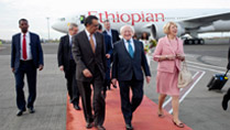 Pictured is President Michael D Higgins and his wife Sabina arriving at Addis Ababa Airport, Ethiopa being greeted by H.E. Dr Tedros Adhanom, Ethiopian Minister of Foreign Affairs on the first day of the Presidents 22 day official visit to Ethiopia, Malawi and South Africa.Photo Chris Bellew / Copyright Fennell Photography 2014