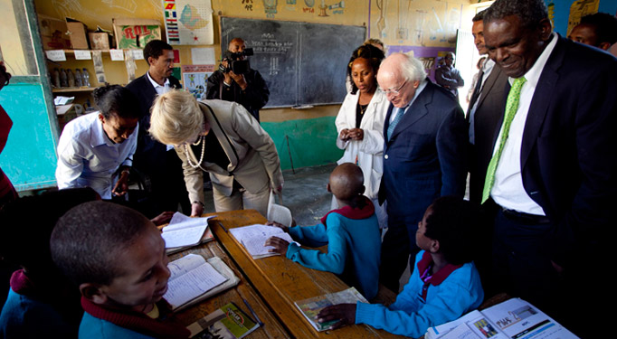 Pictured is President Michael D Higgins and his wife Sabina on a visit to the Damayno School, Tigray, Ethiopia on the sixth day of the Presidents 22 day official visit to Ethiopia, Malawi and South Africa.Photo Chris Bellew /  Fennell Photography 2014