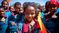 Pictured is a little girl from the Damayno School who turned out with school friends to welcome President Michael D Higgins and his wife Sabina  to their School in Tigray, Ethiopia on the sixth day of the Presidents 22 day official visit to Ethiopia, Malawi and South Africa.Photo Chris Bellew /  Fennell Photography 2014