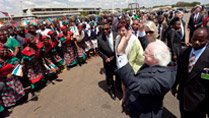 Pictured is President Michael D Higgins bidding farewell after his arrival to Kazumu International Airport, Lilongwe Malawi where he was greeted with a traditional welcome. Photo Chris Bellew / Copyright Fennell Photography 2014