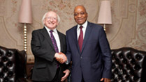 Pictured is President Michael D Higgins meeting with President Jacob Zuma at the Presidents Union Buildings, Pretoria on the seventeenth day of the Presidents 22 day official visit to Ethiopia, Malawi and South Africa.Photo Chris Bellew /  Fennell Photography 2014