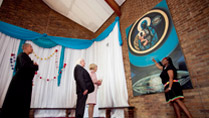 Pictured is President Michael D Higgins and his wife Sabina look at a portarit of  'The Black Madonna' at the Regina Mundi Catholic Church in Soweto on the sixteenth day of the Presidents 22 day official visit to Ethiopia, Malawi and South Africa.Photo Chris Bellew /  Fennell Photography 2014