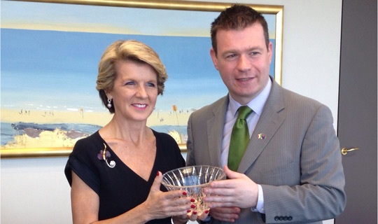 Australian Foreign Minister, Julie Bishop, with Minister Alan Kelly T.D., at the Embassy of Ireland in Canberra