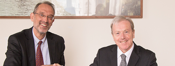 Pictured is Heinz Faßmann Vice-Rector for Research and International Affairs at the University of Vienna and Ambassador Tom Hanney. Credit: University of Vienna