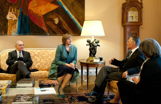Ambassador Orla Tunney, President of Portugal Cavaco Silva and Minister for Foreign Affairs Rui Machete