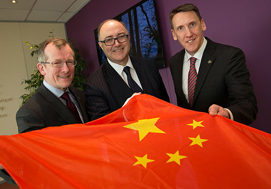 Niall Gibbons, CEO of Tourism Ireland; HE Paul Kavanagh, Irish Ambassador to China; and James Kenny, Tourism Ireland's newly appointed Country Manager for China.
