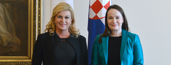 Ambassador Hempenstall presented her credentials to Croatia's President Kolinda Grabar-Kitarović. Credit: Office of the President of the Republic of Croatia - Tomislav Bušljeta