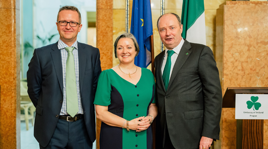 St. Patrick's Day Reception. Ambassador Sheehan with Minister Corcoran Kennedy and Ladislav Muller of Enterprise Ireland