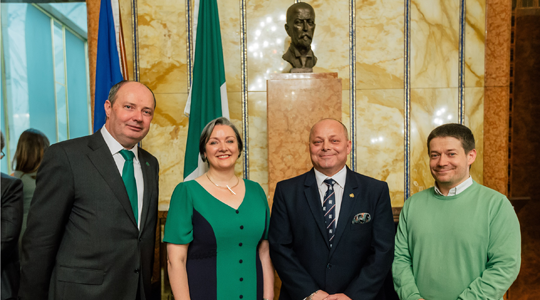 St. Patrick's Day Reception. Ambassador Sheehan with Minister Corcoran Kennedy and Councillors Libor Hadrava and Patrik Nacher