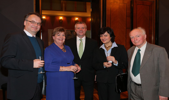 Ambassador Alison Kelly with Petr Kolář and Tomáš Kafka, former Ambassadors to Ireland, former Senator Edvard Outrata, and Kristina Larischová, Director General, Analytic and Communication Section, Ministry of Foreign Affairs