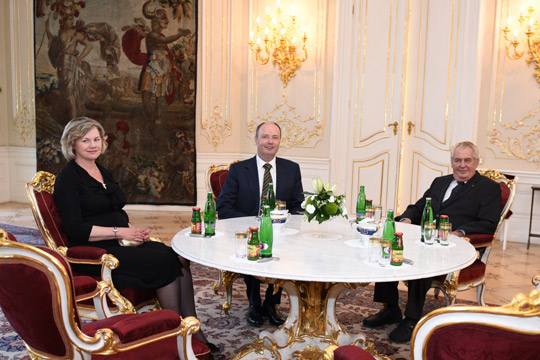 Ambassador Charles Sheehan with wife Alice and President Miloš Zeman