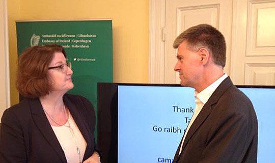 Ambassador Cliona Manahan with Cathal Mahon, Investment Manager with CAPNOVA