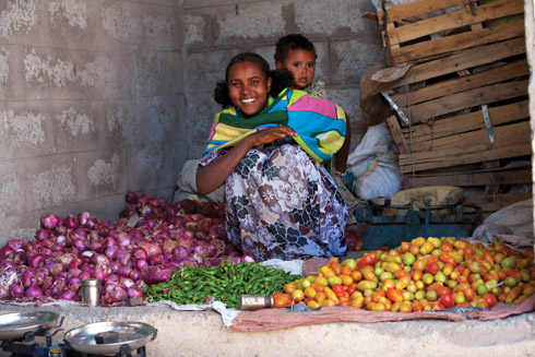 Ethiopian woman selling local produce