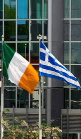 Irish and Greek flags