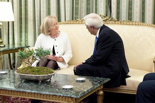 Ambassador presents her Letters of Credence from the President of Ireland to H.E. the President of the Hellenic Republic