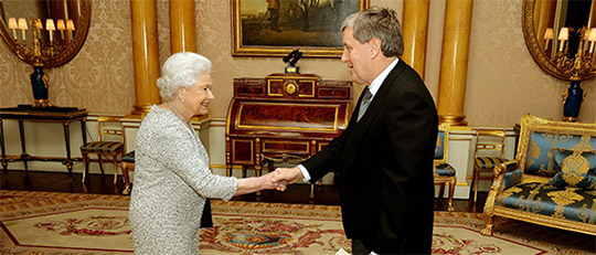 Presentation of credentials to Queen Elizabeth at Buckingham Palace by Ambassador of Ireland Dan Mulhall (c) PA Images