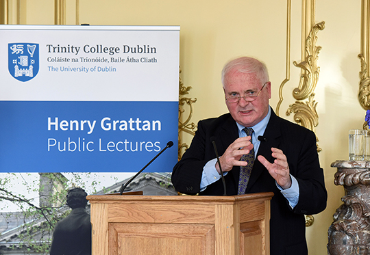 Former Taoiseach John Bruton delivers Henry Grattan lecture. Photo credit: Malcolm MacNally