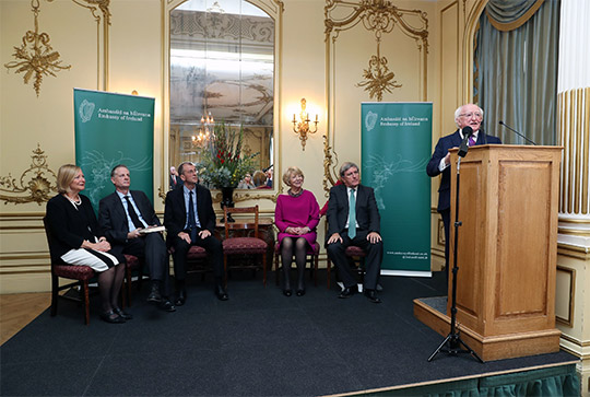 President Higgins at the launch of his book of speeches entitled 'When Idea's Matter - Speeches for an Ethical Republic' at the Embassy of Ireland, London. Photo Credit: Maxwell Photography