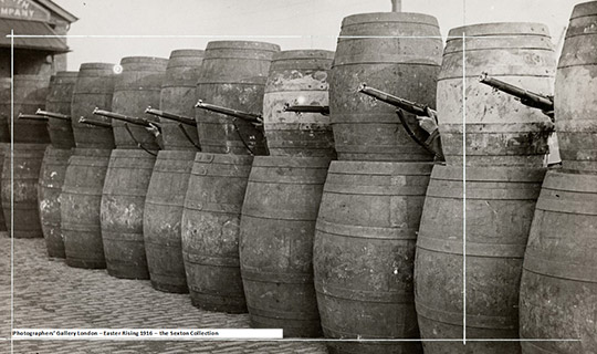 Barricade made from barrels, 1916 © Sean Sexton Collection, Courtesy of the Sean Sexton Collection