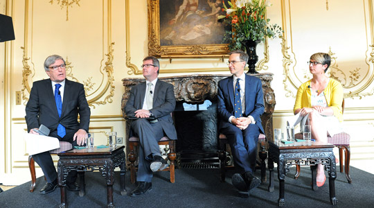 Ambassador Dan Mulhall, Sir Jeffrey Donaldson MP, Dr Andrew Murrison and Dr Caitriona Pennell discuss the Battle of the Somme at the Irish Embassy in London. (Photo Malcolm McNally).