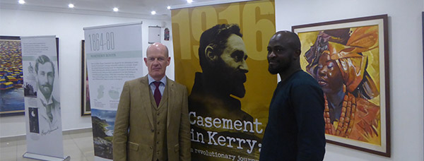 Ambassador Seán Hoy at the opening of an exhibition about Roger Casement in the Thought Pyramid Art Centre, Abuja.