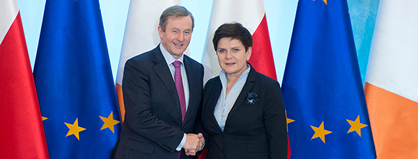 Taoiseach Enda Kenny T.D. met Prime Minister Beata Szydło in Warsaw on 9 February