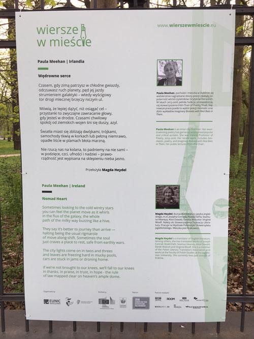 Paula Meehans Poem On Display In Warsaw Department Of