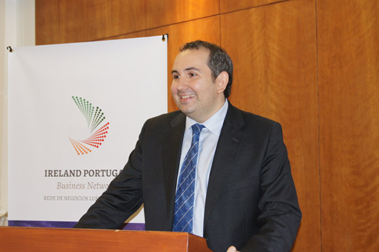 Enterprise Ireland Director for Portugal and Spain, Alberto Cisterna Viladrich, addressing the launch of the Ireland Portugal Business network at the Embassy premises on 23 June 2016.