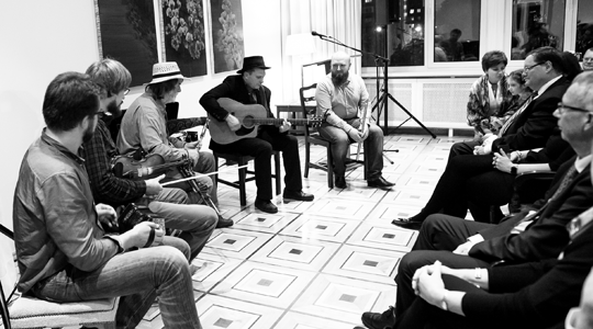 Trad Night with Paddy Keenan at Embassy of Ireland Russia, Evgeny Pichugin, Anton Zille, Paddy Keenan, Sergey Kuvin and Alexander Karavaev. Photo by Natalia Inkina